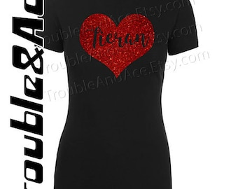 Valentine's Day Personalized Name Heart Red Glitter Graphic Tee Black T-shirt for girls teens women