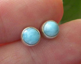 Larimar Earrings Handmade Dominican Blue Larimar Gemstone Earrings 6mm Stud Earrings Sterling Silver Earrings Blue Larimar Jewelry Earrings