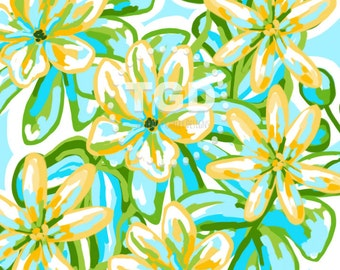 Preppy tropical digital paper - Original Art download, Yellow and turquoise floral digital paper