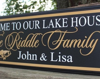 Lake house welcome sign-welcome to our lake house-personalized lake sign-lake house decor-lake home wood welcome to our home on the lake