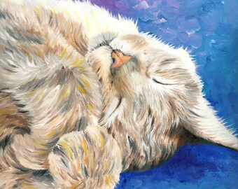 Sleeping Cat Giclée Art Print of Oil Painting - 8 x 8""
