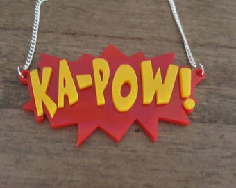 Kapow! Ka-pow! Laser cut comic book inspired necklace