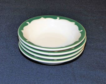 Syracuse China Restaurant Everglade Green Wave Pattern 5 7/8 Inch Bowls, SET of 4 Bowls, 7 Bowls Available