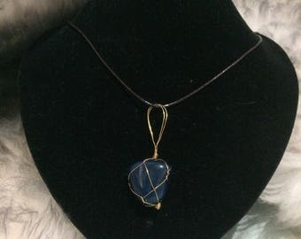 Handmade Natural Blue Mountain Jade Necklace