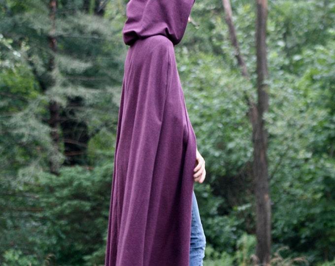 Hooded Hobbit Style Cloak, Maroon/Black Herringbone flannel
