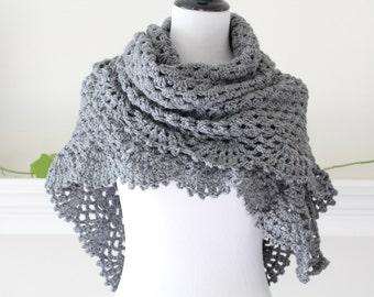 Crocheted GrayTriangle Scarf, Shawl
