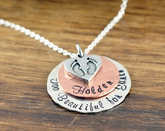 Baby Footprint Necklace - Miscarriage Necklace - Miscarriage Gift- Miscarriage Jewelry - Personalized Memorial Necklace - Baby Loss Gift