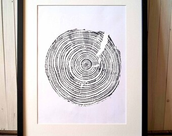 30 years old Spruce, Original Woodcut Print, Wall Decor