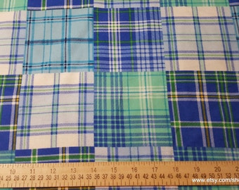 Flannel Fabric - Boy Madras Plaid - By the yard - 100% Cotton Flannel