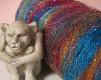 FLAMINGO BAY, 4.0 oz, spinning fiber, batt, sari silk, firestar, Angelina fiber, bling batt, art batt, roving, felting fiber, carded batt