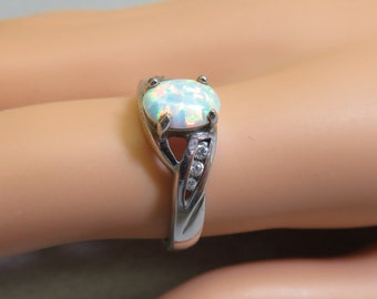 Vintage Manmade Opal Sterling Band Ring,  Size 7