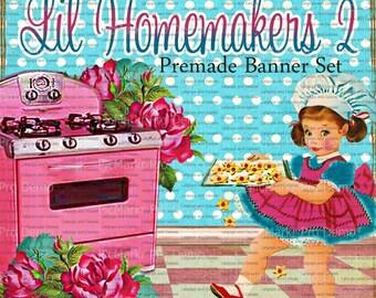"""Shop Banner Set - Premade Banner Set - Etsy Shop Banner Set - Graphic Banner Set - """"Lil Homemakers 2"""""""