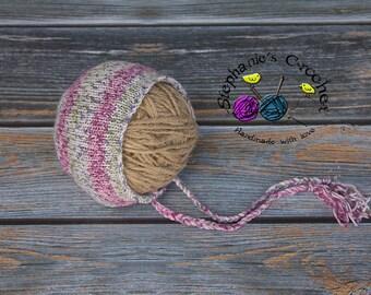 Knitted girl bonnet, photography prop, bonnet, infant boy/girl bonnet, photo prop, Knitted baby bonnet, knit bonnet-Made to order