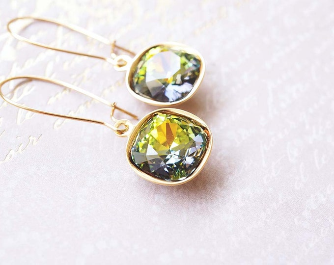 Featured listing image: Earrings, Gold Earrings, Crystal Earrings, Green Earrings, Long Earrings, Dangle Earrings, Drop Earrings, Handmade Earrings, Gift for Her