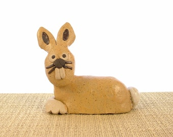 Stoneware Bunny Rabbit Ornament - Bunny Sculpture - Clay Animals - Bunny Gifts