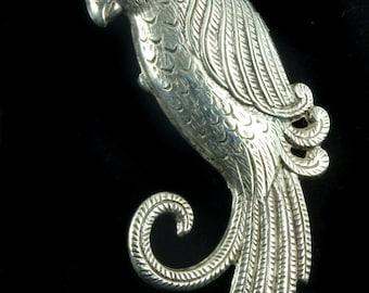 "Antique Sterling Silver Art Deco Parrot Bird Brooch Pin Cute! 2.25"" H"