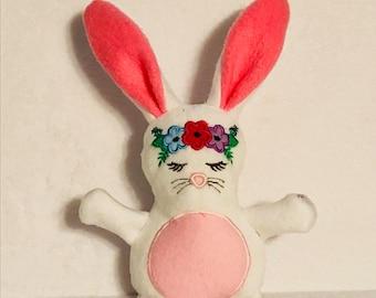 Flower crown stuffed bunnies, personalized