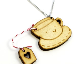 Tea Time Wood Charm Necklace