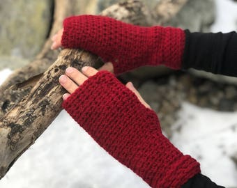 red fingerless glove mittens, arm warmers, Christmas gifts, gift for her, winter accessories, wrist warmers, winter crochet gloves, gloves