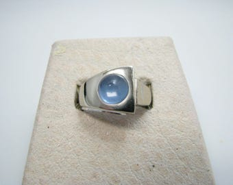 Handsome 14k White Gold Ring with a Light Blue Domed Stone