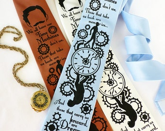 Time Machine Necktie, H.G. Wells, Book Lover Gift, Father's Day Gift, Bookworm Gift, Steampunk Clothing, Literary Gift, English Teacher Gift