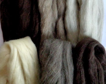 255g (62.55 Euro/kg), 9oz natural wool roving for felting, 6 shades per bag, spinning fiber,roving wool,wool tops white brown grey,100% wool