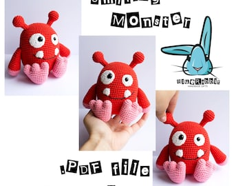 Smiling monster - amigurumi crochet pattern. Languages: English, Danish.