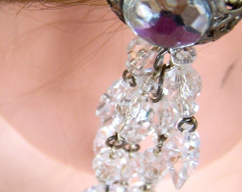 "Vintage 60""s  ""CLIP-ON DANGLES"" / Earrings with Chunky Clear Water  Star Story"