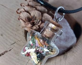 Winter Blues Charm Bottle Necklace - Star Bottle
