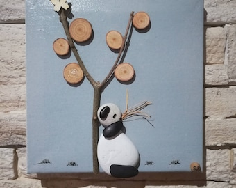 Pebbles Panda leaning against a tree - creative craft table