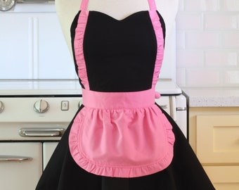 Apron French Maid Solid Black with Hot Pink Double Circle Skirt Retro Full Apron