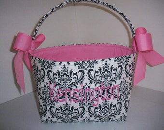 Black White Hot pink  Damask Fabric Basket / Bucket / Organizer Bin - Personalization Available
