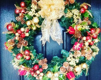 Red Christmas Wreath, Gold Christmas Wreath, Elegant Christmas Wreaths, Red And Gold Christmas Wreath, Christmas Wreaths For Door, Xmas