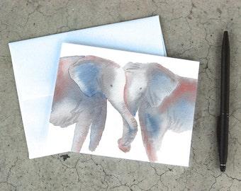 Hugging Elephants Card