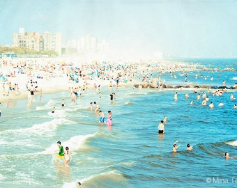 "Large Beach Photography // Coney Island Beach Photography // Oversize Art // Crowded Beach Prints, Living Room Art - ""Peeps Dips"""