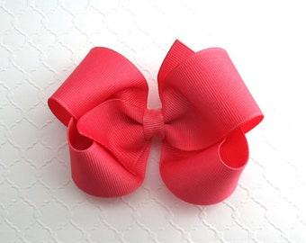 "Hair Bow, Toddler Hair Bow, Girls Hair Bow, Coral Rose Hair Bow, 4"" Hair Bow, Grosgrain Hair Bow Clip, Boutique Bow"