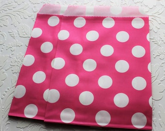Hot Pink Polka Dot Paper Bag- Gift Bag, Party Favor, Party Supply, Shop Supply, Treat Bag, Merchandise Bags