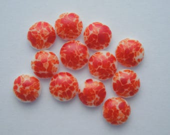 Fire Red Orange - Fused Glass Beads - Lampwork Beads - Fused Glass - Jewelry Findings - Small Beads - Cabochon - Cab  4223