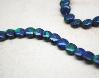 Azurite Round Lentil Beads