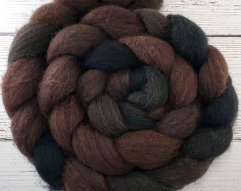Handpainted Dark BFL Wool Roving - 4 oz. OUTLAW - Spinning Fiber