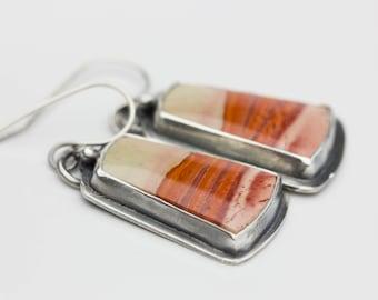 Landscape Jasper Earrings, Jasper & Sterling Earrings, Natural Gemstones, Le Chien Noir, Artisan Earrings