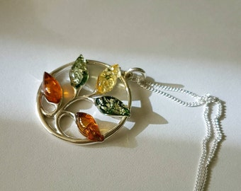 Tree of Life, Baltic amber Tree of life, sterling silver necklace