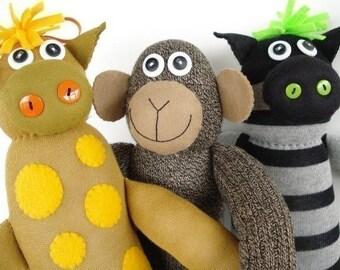 Toy Sewing Pattern - SALE - PDF ePATTERN for Sock Animals - Monkey, Giraffe, Zebra, Pig, Bear and Puppy Sewing Pattern