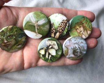 Set of 6 green fairy pins