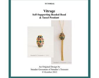 Beading Tutorial Pattern, Vitrage Beaded Bead Pendant.  Beadweaving Instructions with Tila and Crystal Beads. Beadwork. PDF File Pattern