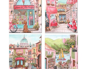 Baby Girl Travel Nursery Prints, Florence, Rome, Lake Como Italy, Set Of 4 All Personalized, Girls Pink Bedroom Decor Italian Travel Theme