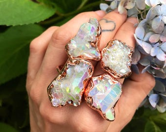 OOAK  Angel Aura Ring - Any Size - electroformed Copper // made to order