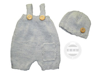 Hand knit Baby Romper & Hat set | 0-24M | baby boy coming home outfit | baby girl | knit photo outfit | take home outfit | knit overalls