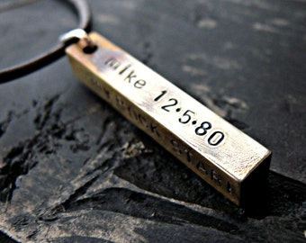 Personalized Mens Bar Necklace, Mens Personalized Necklace, Brass Bar Necklace, Mens Custom Jewelry, Fathers Hand Stamped Necklace