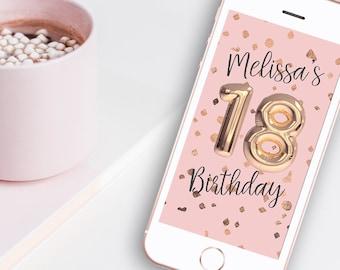 18th Birthday Rose Gold Balloon Snapchat Geofilter - Pink & Rose Gold